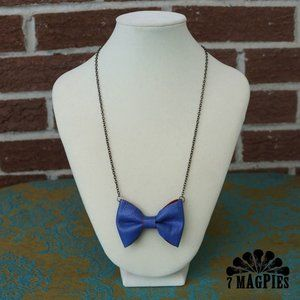 Upcycled Leather Bow Necklace in Blurple & Red